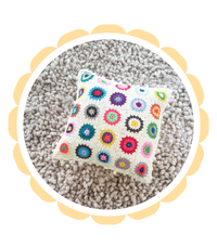 Cushion Covers Handmade Sunflower granny square modern vintage